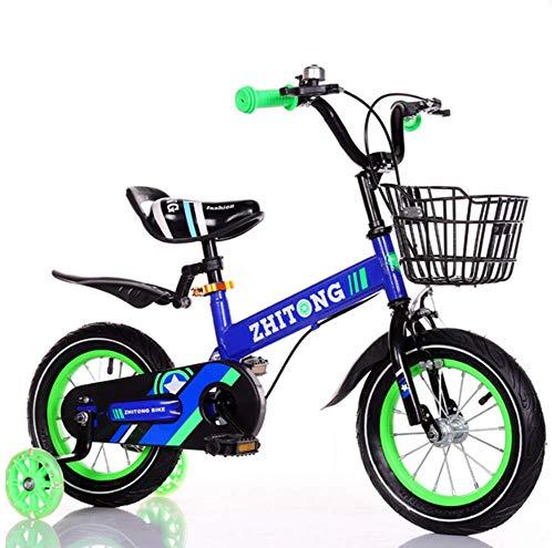 Phil Beauty Bicicleta con Pedales Regalos para Niño Y Niña 3-9 Años De Edad con Estabilizadores con Rueda Auxiliar Luminosa Jardín De Camping Al Aire Libre Jardín De Infantes,Azul,14 ''