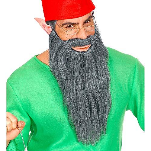 Widmann 01527 lange baard met snor voor meerdere karakters, heren, grijs, eenheidsmaat