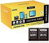 iMoebel Lingettes de nettoyage d'écran emballées individuellement Lingette Nettoyante multi usage pour lentilles moniteur téléphone portable ordinateur iPad TV tablettes PC, sans alcool - 120 Pack