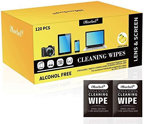 iMoebel Bildschirm Reinigungstücher Einzeln Verpackt - 120 Stück bereits Angefeuchtet Monitor Display Objektive Reinigung für Handy Laptop iPad Fernseher Tablets PC CD DVD, Alkohol-und Ammoniakfrei