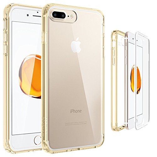 iPhone 8 Plus/iPhone 7 Plus Funda, ZUSLAB Front + Back Cuerpo Completo de PC TPU de Parachoques Híbrido Cero contra la Cubierta Protectora para Apple iPhone 8 Plus/iPhone 7 Plus [Compact][Dorado]