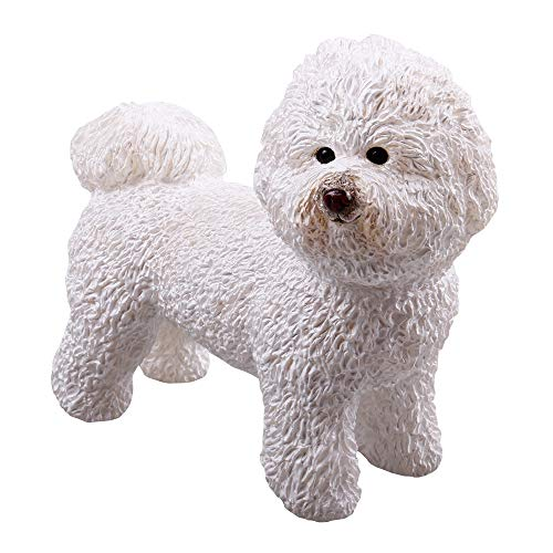 RECUR Bichon Frise Pet Dog Figure Toy, Collectible White Dog Figure 5.3inch ,1:3 Scale Realistic Stuffed Animal Toy Design Replica, Hand-Painted Skin Texture, Ideal for Collectors & Girl Kids, Ages 3+