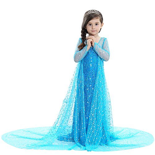 Kinderen prinses jurk bevroren sneeuw koningin Elsa kostuums mesh jurk voor kinderen kleine meisjes en grote meisjes (leeftijd van 2 tot 12 jaar)