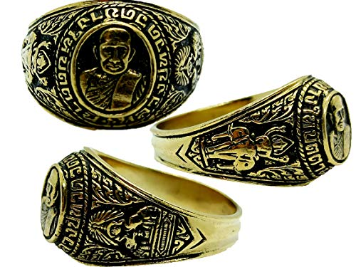 Beautiful Lord lp Tuad Wat Changhai US 12 Brass Gold Ring Thai Buddha Amulet Blessed for Success With Amulet Gift