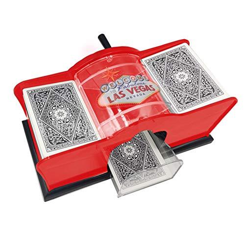 XIAMUSUMMER Manueller Kartenmischer für Karten bis 59 x 91 mm - 2 Kartenspiel - Professioneller Kartenmischer, 23 x 11 x 11 cm , Rot