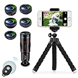 Apexel 8 in 1 Phone Camera Lens Kit 18X Telephoto Telescope Zoom lens