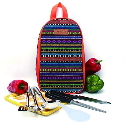 Fang zhou - Bolsa de almacenamiento para utensilios de cocina, juego de viaje portátil para barbacoa y campamento, resistente al agua, tabla de cortar, cuchara de arroz, cuchillo y abrebotellas al aire libre