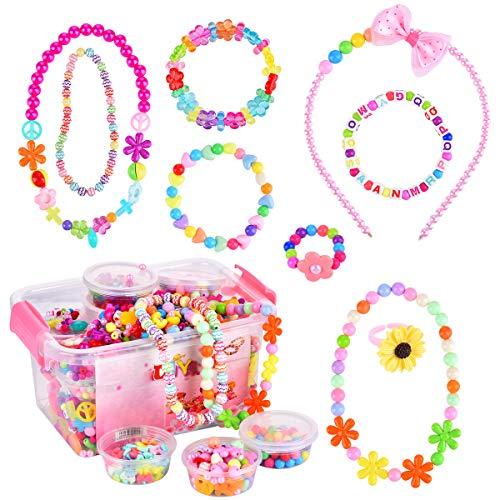 Funkprofi Perlen zum Auffädeln, DIY Kinderschmuck, Armband Ketten Halsketten Basteln, Perlenschmuck Set für Mädchen, Kinder Anzug