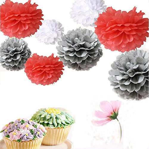 Somnr® Set of 9 White Gray Coral Tissue Paper Pompoms Wedding Flower Birthday Bridal Shower Party Hanging Decoration by Somnr