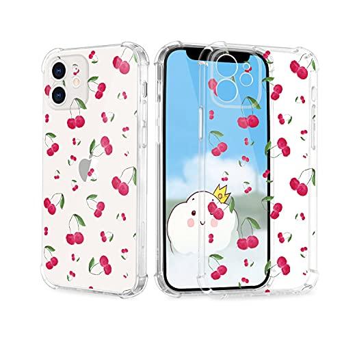 Funda para iPhone 12 Mini, diseño de frutas y cerezas, ultrafina, suave, transparente, resistente a los golpes, con estampado, bonita impresión de TPU