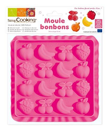 ScrapCooking 6721 Moule Silicone Bonbons-Fruits, Rose, 15,5 x 15,5 x 1 cm