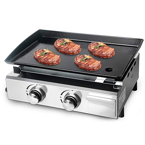 Vertrouw me Tuin 2 Branders Gas BBQ Grills LPG Plancha 5000W Rundvlees Varkensvlees Kip Koken Hot Thuis Plaat Antistick Barbecue Gereedschap Grills Voor Outdoor Party