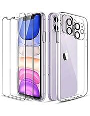 LK Fodral kompatibel med iPhone 11 2019, 2-pack 9H skärmskydd i härdat glas och 2 kameralinsskydd, fodralvänligt, premium mjukt TPU-silikonskydd fullständigt skydd, kristalltransparent