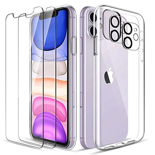 LK Clair Coque Compatible avec iPhone 11 6.1 Pounces, 2 Pièces Verre Trempé Protection écran &2 Pièces Caméra Arrière Protecteur, Souple Silicone TPU Housse Case Cover-Transparent