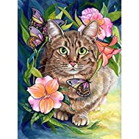 大人のための5Dダイヤモンドペインティングキット猫ペット番号キットダイヤモンドアートクラフトの家の装飾でペイント、20x26インチ(M9-611)
