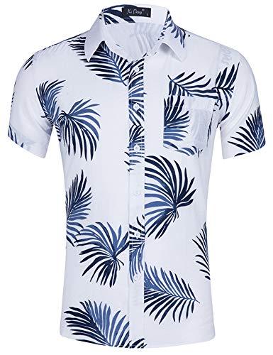 Loveternal Hawaii Hemd Männer Blätter Hemd Lässige 3D Druckt Kurzarm Funky Beach Holiday Baumwolle Shirt Weiß L