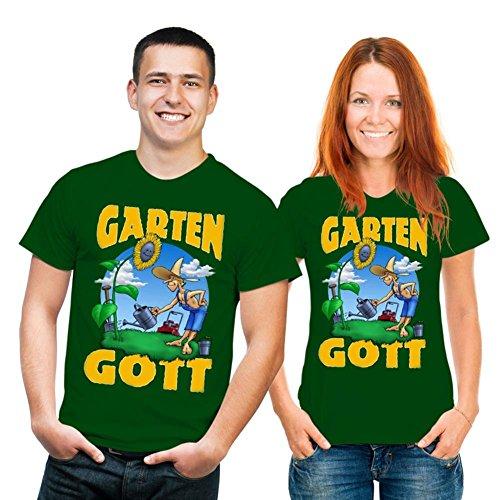 Stylishes und trendiges Fun T-Shirt: Garten-Gott (mit individuellem Wunschnamen) (Farbe: Dunkel-Grün, Größe: XXL)