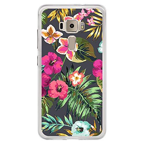BJJ SHOP Custodia Trasparente per [ ASUS Zenfone 3 ZE552KL ], Cover in Silicone Flessibile TPU, Design: Piante e Fiori Tropicali