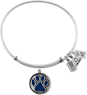 Wind and Fire Expandable Bangle Dark Blue Paw Print Brass