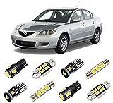 BRISHINE White Interior LED Lights Kit for Mazda 3 Sedan 2003 2004 2005 2006 2007 2008 2009 Super Bright 6000K LED Interior Light Bulbs Package + License Plate Lights and Install Tool