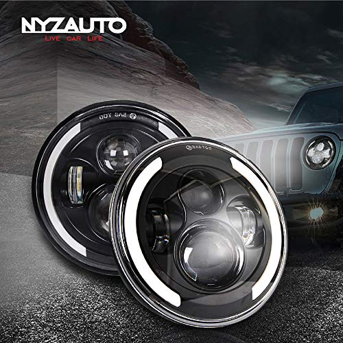 NYZAUTO 7'' Round LED Headlight compatible with Jeep Wrangler JK TJ LJ CJ and Hummer, High/Low Beam with Angel Eye Ring DRL & Amber Turn Signal Lights -  YUNZHEN, NYZ-HLJP0102