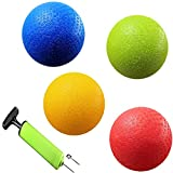 New-Bounce Dodge-Ball Set - Heavy Duty Dodgeball Balls - Set of 4, PG Balls, 1 Pump, and 2 pins, Official Size for Dodgeball and Handball - Perfect for Camps and Schools