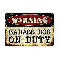 悪い犬に警告錫金属マーク、レトロな壁アート装飾寝室面白い装飾ファミリーキッチンバールーム男の洞窟ラウンジガレージアンティークポスタープレート12インチx8インチ