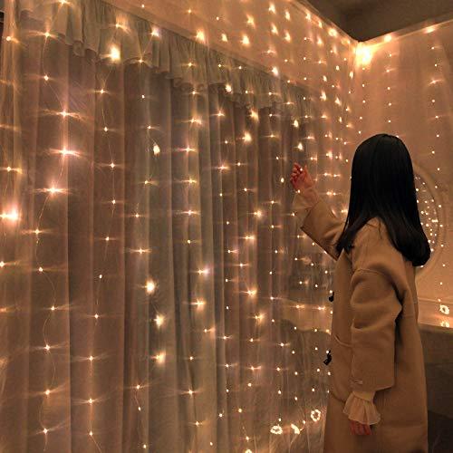 Led serie lamp koperdraad serie lamp 100/200/300 meisje hart kamer decoratieve lamp ijs strepen decoratieve lamp usb bus decoratieve gordijn lamp, kleur, 3 * 3 [300 licht]