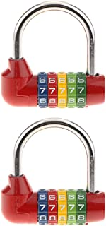Perfk 2X Combination Lock, 5-Digit Combination Padlock, Re-settable Combo Lock for Gates, Toolbox, Luggage, Cabinet, Bicycle, Home, Office, Travel