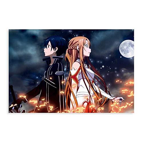 Sword Art Online Sao Kirito Asuna Anime Poster Canvas Poster Art Decor Cuadro Cuadro Cuadro Cuadro para Sala Dormitorio Decoración Unframe:30×45cm