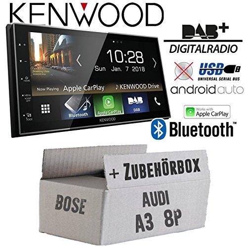 Autoradio Radio Kenwood DMX7018DABS -   Bluetooth   DAB+ Digitalradio   AndroidAuto   Apple CarPlay   Zubehör - Einbauset für Audi A3 8P 2- JUST SOUND best choice for caraudio