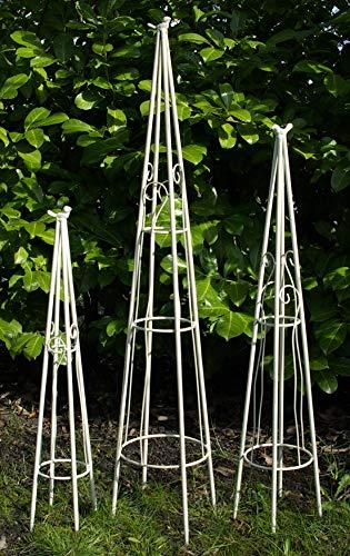 GeKi Trend Rankhilfe 3er Set Schmiedeeisen Metall 78/98 / 120 cm groß antik weiß mit Deko-Vogel, Sehr stabil
