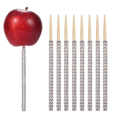 24ct Glitter Bling Bamboo Candy Apple Sticks 6 inch for Wedding Favor Cake pop Chocolate Caramel Apple Skewers Buffet Candy Making Accessories by Quotidian (Silver)