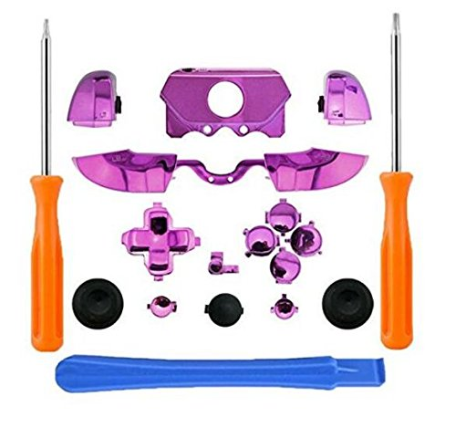 New Thumbsticks Bumpers Dpad Trigger Buttons Set + LB RB LT RT for Xbox One Elite Controller with Tools Chrome Purple