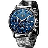 LIGE Men's Watch Waterproof Stainless Steel Analogue Quartz Wrist Watch Black Fashion Casual Business Mesh Belt Watch