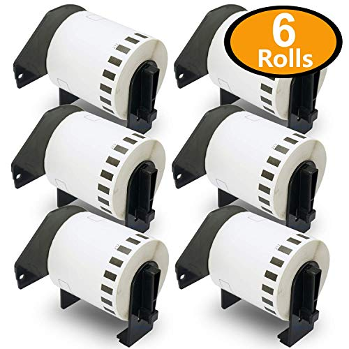 BETCKEY - 6 Rolls Compatible Brother DK-2212 (2-3/7' x 50') Continuous Matte Film Tape with Refillable Cartridge Frame