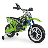 INJUSA - Moto Cross Kawasaki a Batería 6V Licenciada con Acelerador en Puño y Bandas de Goma en Las Ruedas Recomendada a Niños +3 Años