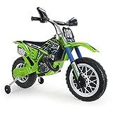 INJUSA - Moto Cross Kawasaki a Batería 6V Licenciada con Acelerador en Puño y Bandas de Goma en...