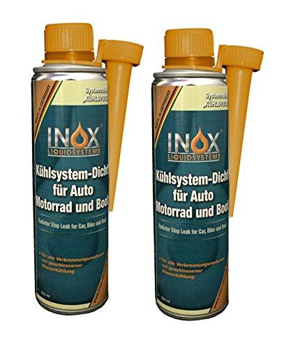 INOX® Kühlsystem Dicht Additiv Kühlsystempflege Aufbereitung, 2 x 250ml - Dichtmittel für Kühlsysteme für alle Verbrennungsmotoren mit Wasserkühlung geeignet
