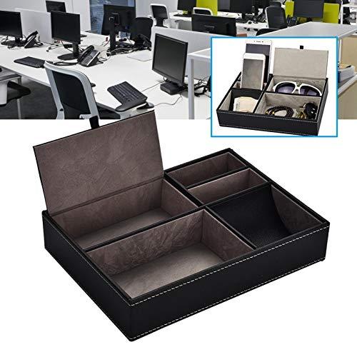 Caja de almacenamiento de suministros de oficina Caja de escritorio de cuero PU Moda multifuncional con diseño de partición para limpieza de escritorio Tiempo de servicio prolongado