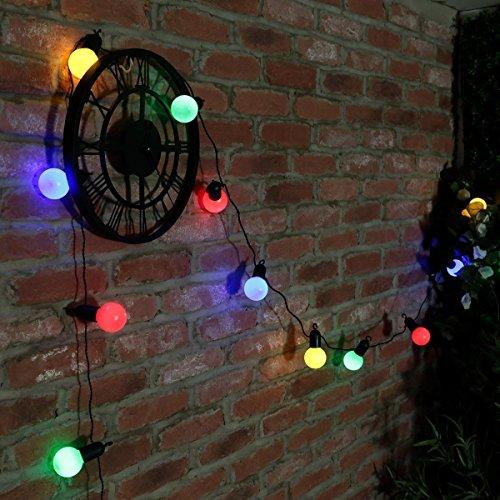 SUAVER 20ft Batterie Guirlande Lumineuse 20LED Boules Lumière Rétro Guirlande Guinguette Ampoules Lampes Cordes pour Décoration de Parti(Multicolore)