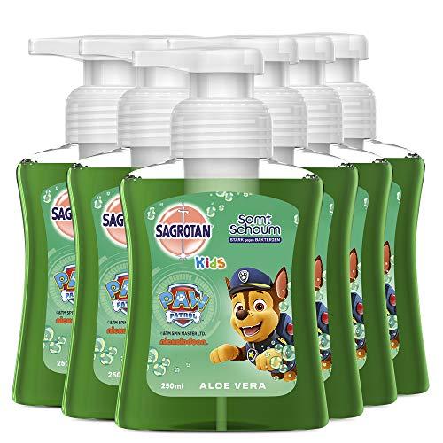 Sagrotan Kids Samt-Schaumseife Aloe Vera – Paw Patrol Edition– Antibakterielle Schaumseife mit farbigem Schaum – 6 x 250 ml Seifenspender