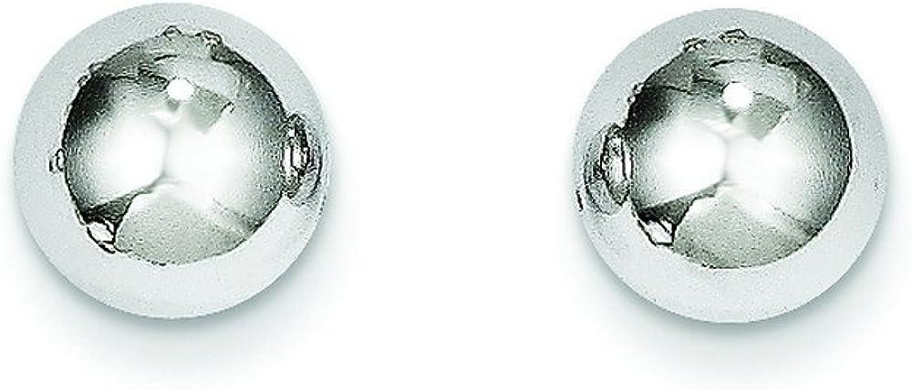 14k White Gold Maddi K Polished 8mm Ball Post Earrings