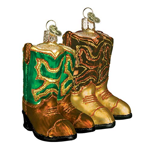 Old World Christmas Ornaments: Pair of Cowboy Boots Glass Blown Ornaments for Christmas Tree