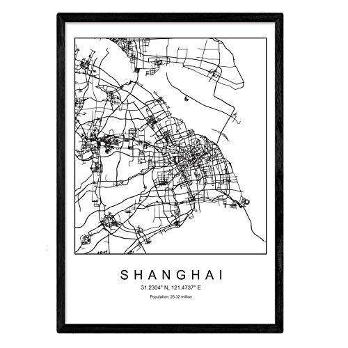 Lámina mapa de la ciudad Shanghai estilo nordico en blanco y negro. Poster tamaño A4 Sin marco Impreso papel 250 gr. Cuadros, láminas y posters para salon y dormitorio