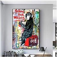 あなたの夢に従ってくださいストリートグラフィティアートアニマルモンキーポスターウォールアート画像抽象キャンバス絵画リビングルーム家の装飾40x50cm16x20in)