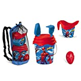 Mondo Toys 28561 Spiderman Bag Set - Bolsa de Playa Grande de plástico - Ideal para Guardar Juguetes Infantiles - Cubo, Pala, rastrillo, regadera incluida