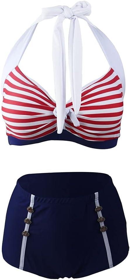 JGYu Women's Vintage Stripe Swimsuit Surprise price 2 Sexy El Paso Mall Set Bikini Piece Hig