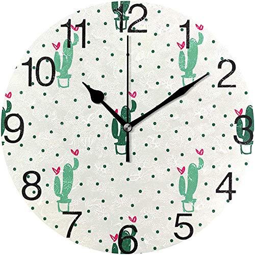 L.Fenn Cactus en hart met stippen design ronde wandklok, stille non-ticking olieverfschildering, decoratief voor home kantoor