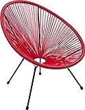Kare Design Sessel Acapulco Rot, moderner Acapulco Sessel, Gartenstuhl, Outdoorstuhl, Relaxsessel, Stuhl, Wetterfest, XXL Retro Chillsessel Outdoorgeeignet (H/B/T) 85x73x78cm